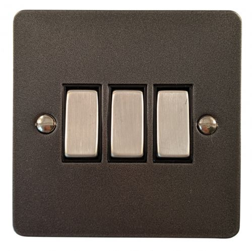 G&H FP303 Flat Plate Pewter 3 Gang 1 or 2 Way Rocker Light Switch